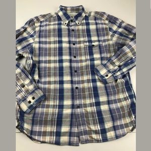 Guideboat Co Indigo Bleeder Madras Button Front L
